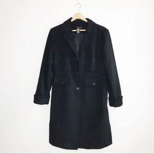 BCBGMaxAzria Solid Black Long Wool Winter Coat Lg